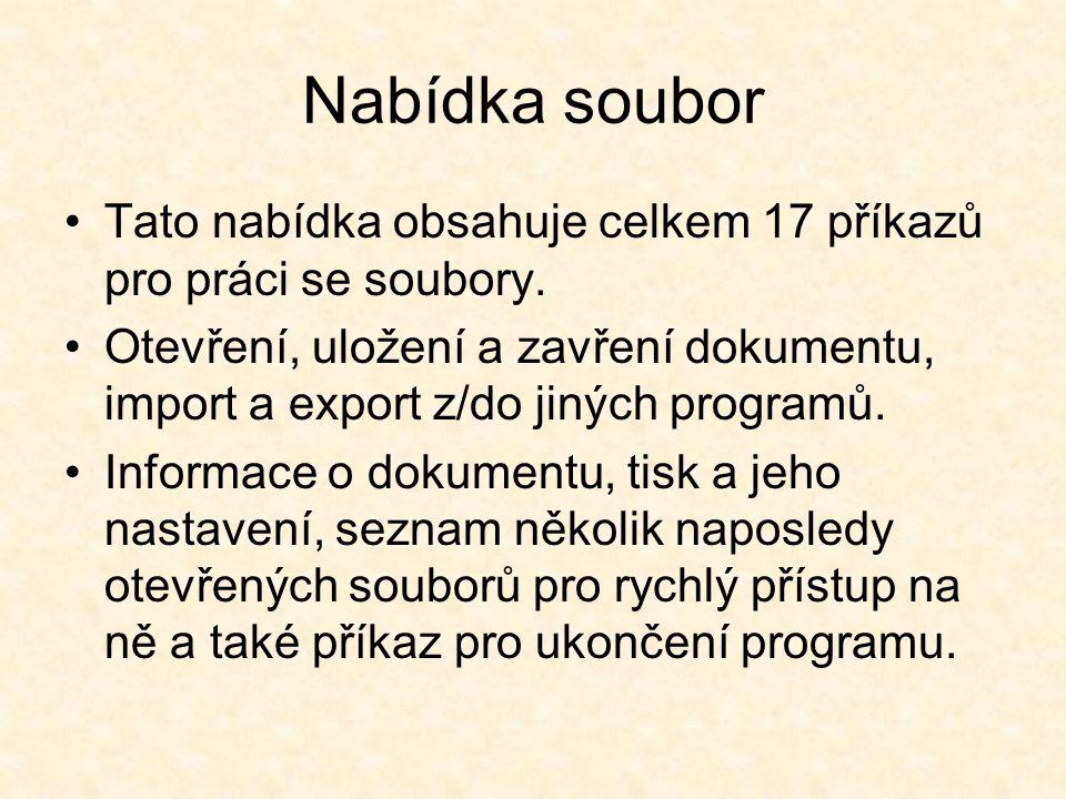 Tato nabídka obsahuje celkem 17 příkazů pro práci se soubory. Otevření, uložení a zavření dokumentu, import a export z/do jiných programů. Informace o