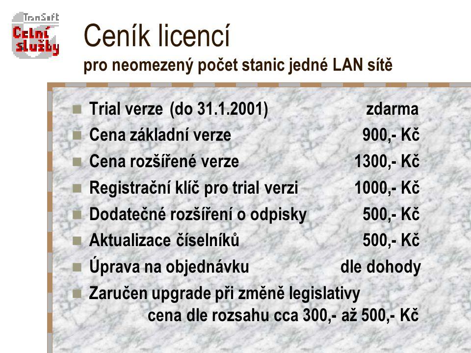 Ceník licencí pro neomezený počet stanic jedné LAN sítě Trial verze (do 31.1.2001) zdarma Cena základní verze 900,- Kč Cena rozšířené verze1300,- Kč Registrační klíč pro trial verzi 1000,- Kč Dodatečné rozšíření o odpisky 500,- Kč Aktualizace číselníků 500,- Kč Úprava na objednávku dle dohody Zaručen upgrade při změně legislativy cena dle rozsahu cca 300,- až 500,- Kč