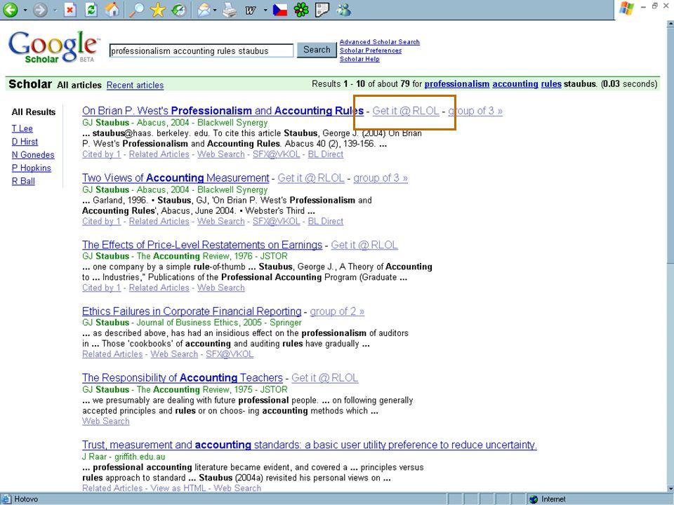 SUAleph, Brno 18.-19. října 200625 [4.] Google Scholar