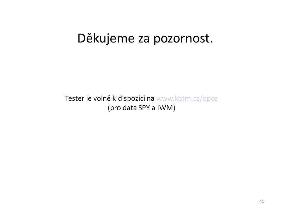 Děkujeme za pozornost. Tester je volně k dispozici na www.kbtm.cz/opce (pro data SPY a IWM)www.kbtm.cz/opce 41