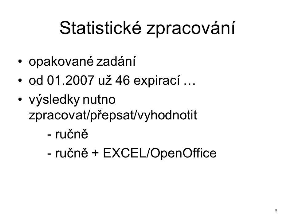 Statistické zpracování opakované zadání od 01.2007 už 46 expirací … výsledky nutno zpracovat/přepsat/vyhodnotit - ručně - ručně + EXCEL/OpenOffice 5