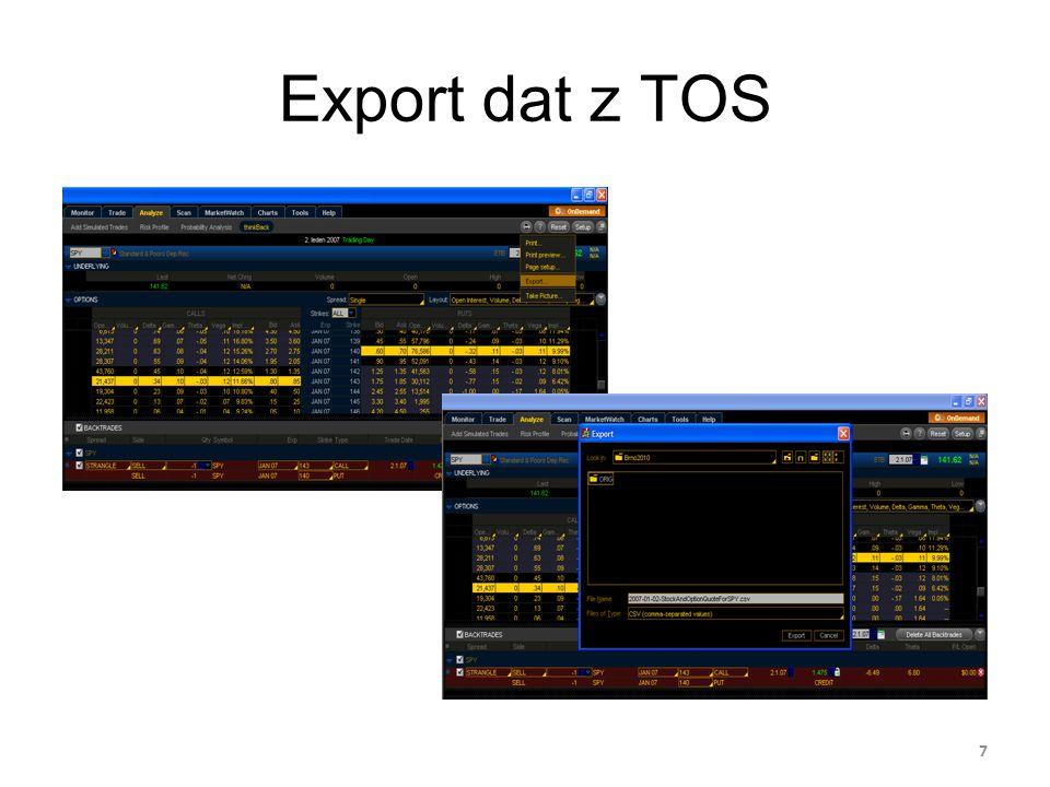 Export dat z TOS 7