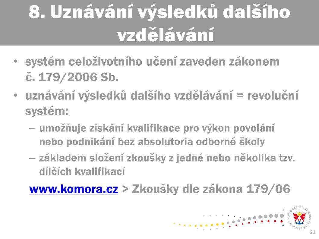 21 systém celoživotního učení zaveden zákonem č. 179/2006 Sb.