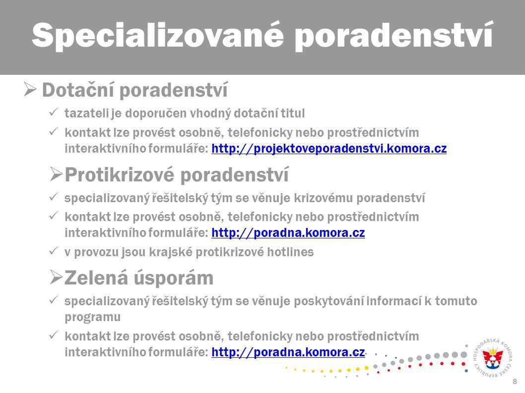 8  Dotační poradenství tazateli je doporučen vhodný dotační titul kontakt lze provést osobně, telefonicky nebo prostřednictvím interaktivního formuláře: http://projektoveporadenstvi.komora.czhttp://projektoveporadenstvi.komora.cz  Protikrizové poradenství specializovaný řešitelský tým se věnuje krizovému poradenství kontakt lze provést osobně, telefonicky nebo prostřednictvím interaktivního formuláře: http://poradna.komora.czhttp://poradna.komora.cz v provozu jsou krajské protikrizové hotlines  Zelená úsporám specializovaný řešitelský tým se věnuje poskytování informací k tomuto programu kontakt lze provést osobně, telefonicky nebo prostřednictvím interaktivního formuláře: http://poradna.komora.czhttp://poradna.komora.cz Specializované poradenství