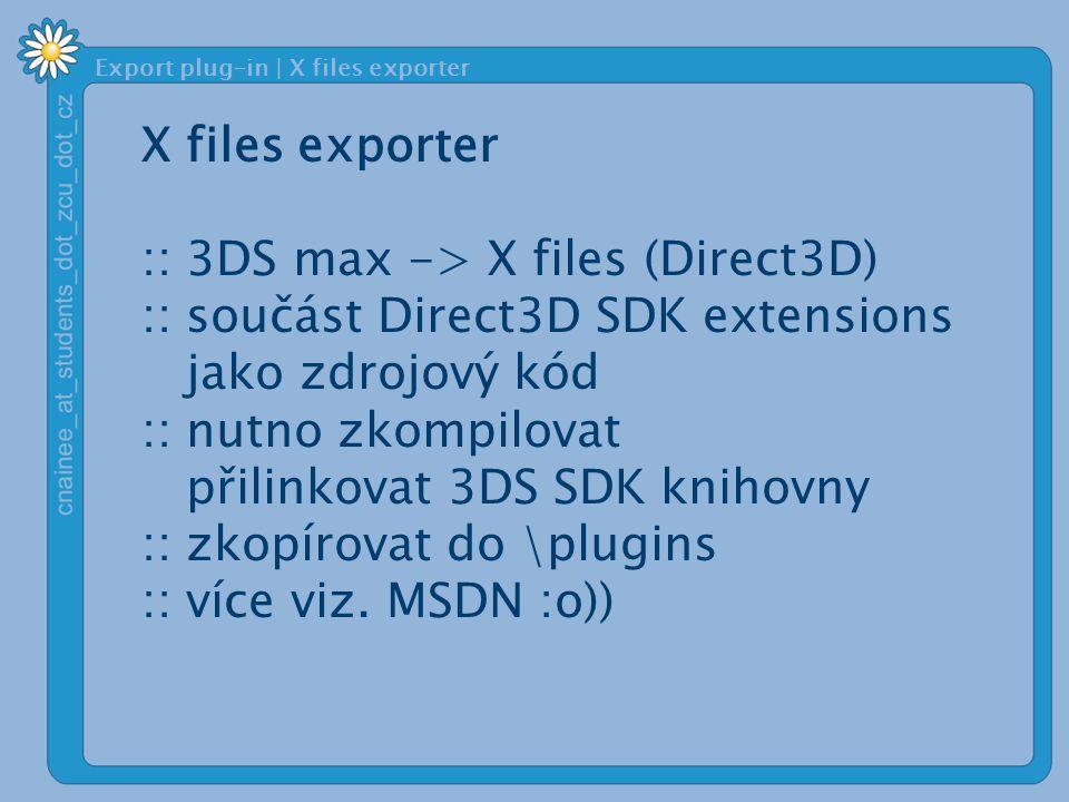 Export plug-in | X files exporter