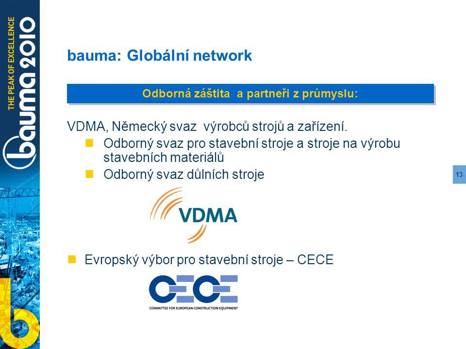 13 bauma: Globální network VDMA, Německý svaz výrobců strojů a zařízení. Odborný svaz pro stavební stroje a stroje na výrobu stavebních materiálů Odbo
