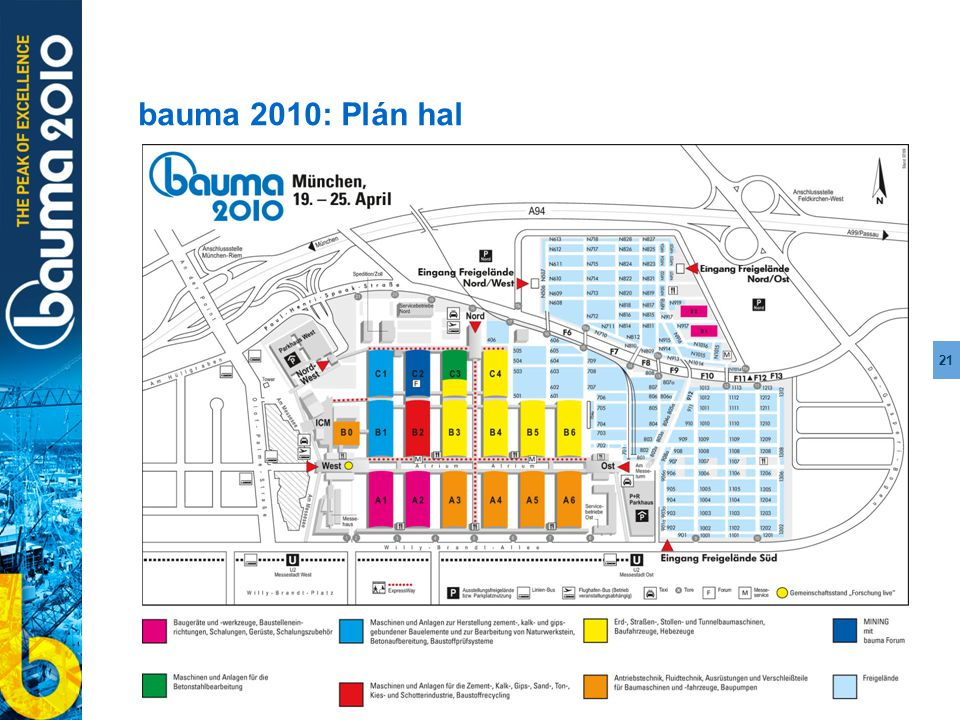 21 bauma 2010: Plán hal