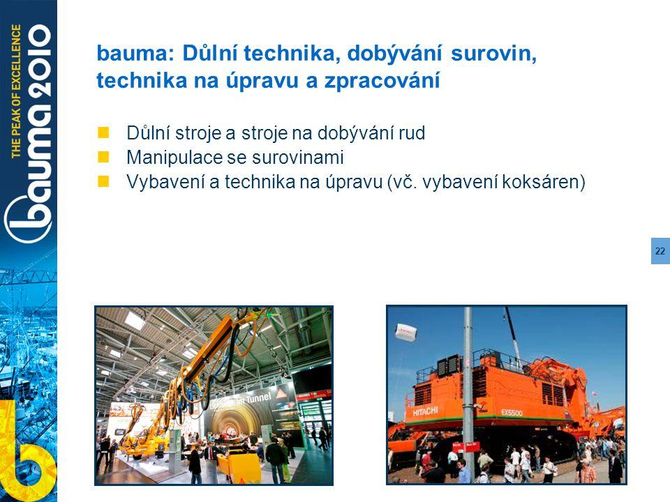 22 bauma: Důlní technika, dobývání surovin, technika na úpravu a zpracování Důlní stroje a stroje na dobývání rud Manipulace se surovinami Vybavení a
