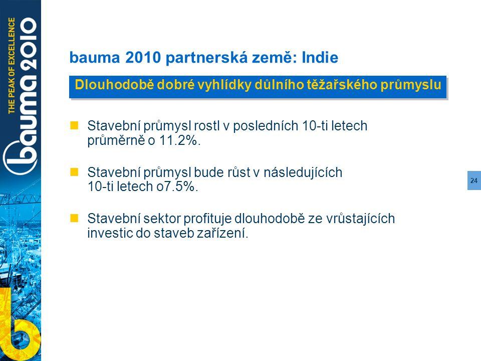 24 bauma 2010 partnerská země: Indie Stavební průmysl rostl v posledních 10-ti letech průměrně o 11.2%. Stavební průmysl bude růst v následujících 10-
