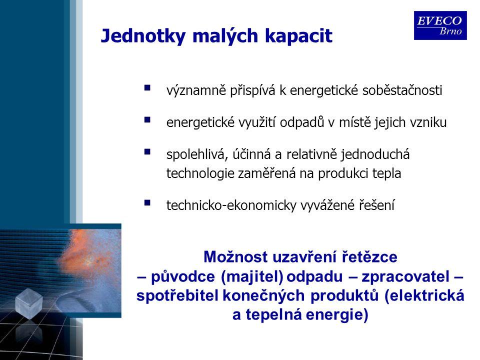 Jednotky malých kapacit  významně přispívá k energetické soběstačnosti  energetické využití odpadů v místě jejich vzniku  spolehlivá, účinná a relativně jednoduchá technologie zaměřená na produkci tepla  technicko-ekonomicky vyvážené řešení Možnost uzavření řetězce – původce (majitel) odpadu – zpracovatel – spotřebitel konečných produktů (elektrická a tepelná energie)