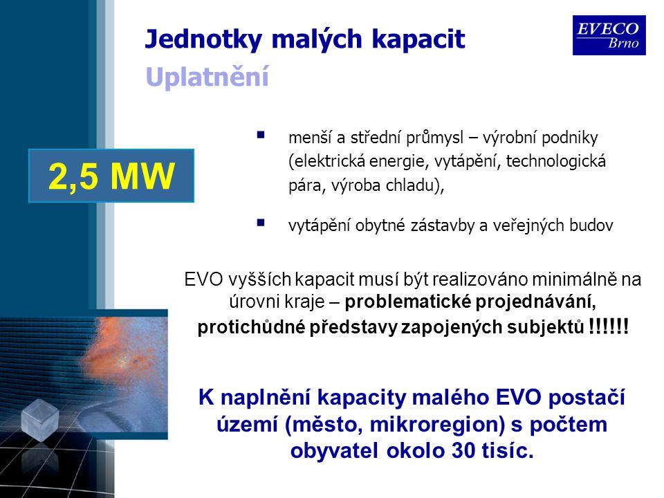 Uplatnění  menší a střední průmysl – výrobní podniky (elektrická energie, vytápění, technologická pára, výroba chladu),  vytápění obytné zástavby a veřejných budov EVO vyšších kapacit musí být realizováno minimálně na úrovni kraje – problematické projednávání, protichůdné představy zapojených subjektů !!!!!.
