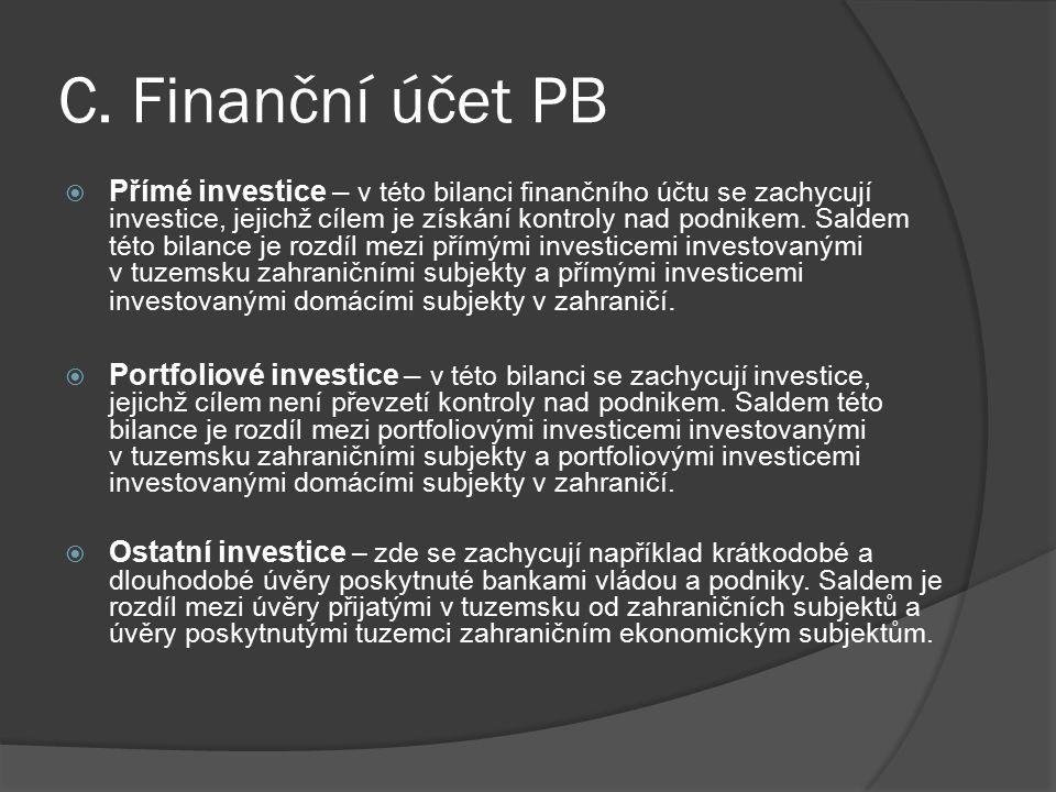 C. Finanční účet PB  Přímé investice – v této bilanci finančního účtu se zachycují investice, jejichž cílem je získání kontroly nad podnikem. Saldem