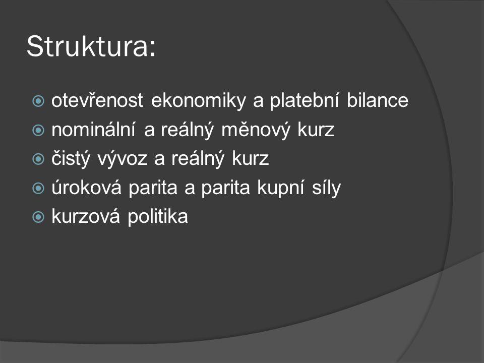 Struktura:  otevřenost ekonomiky a platební bilance  nominální a reálný měnový kurz  čistý vývoz a reálný kurz  úroková parita a parita kupní síly