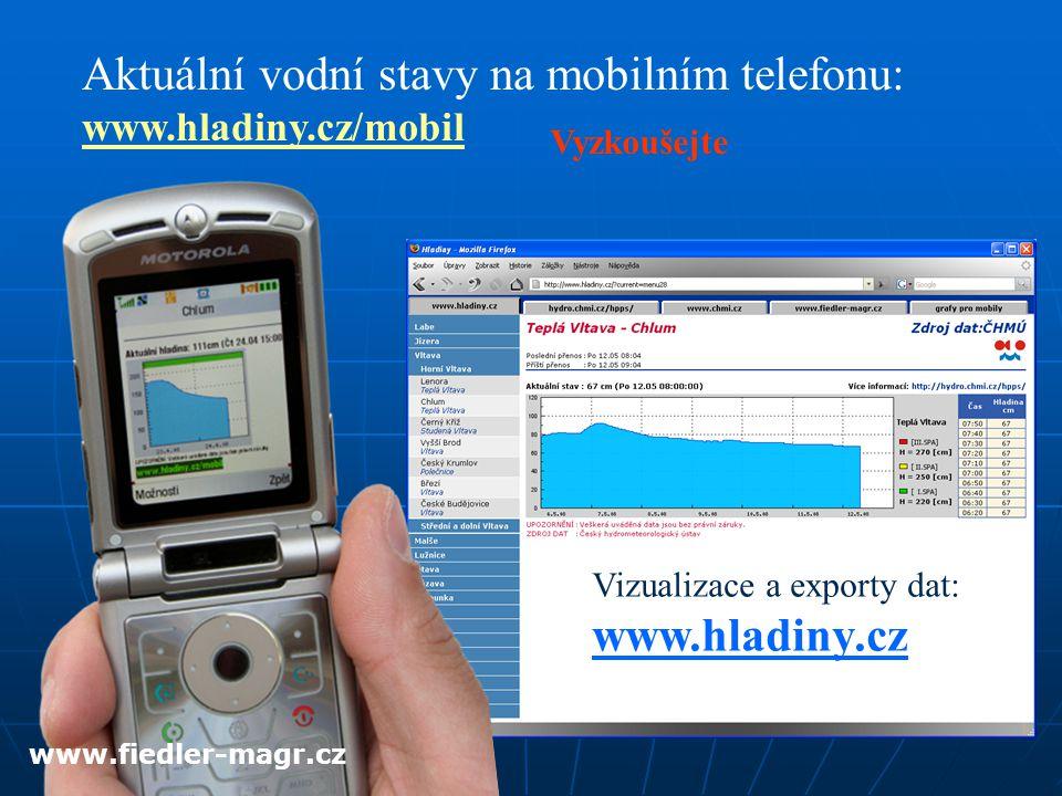 Aktuální vodní stavy na mobilním telefonu: www.hladiny.cz/mobil Vizualizace a exporty dat: www.hladiny.cz Vyzkoušejte www.fiedler-magr.cz