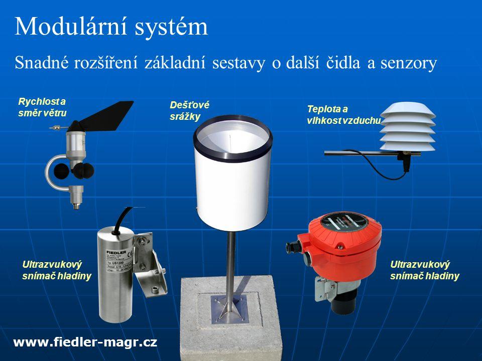 Snadné rozšíření základní sestavy o další čidla a senzory Modulární systém Rychlost a směr větru Dešťové srážky Teplota a vlhkost vzduchu Ultrazvukový snímač hladiny www.fiedler-magr.cz