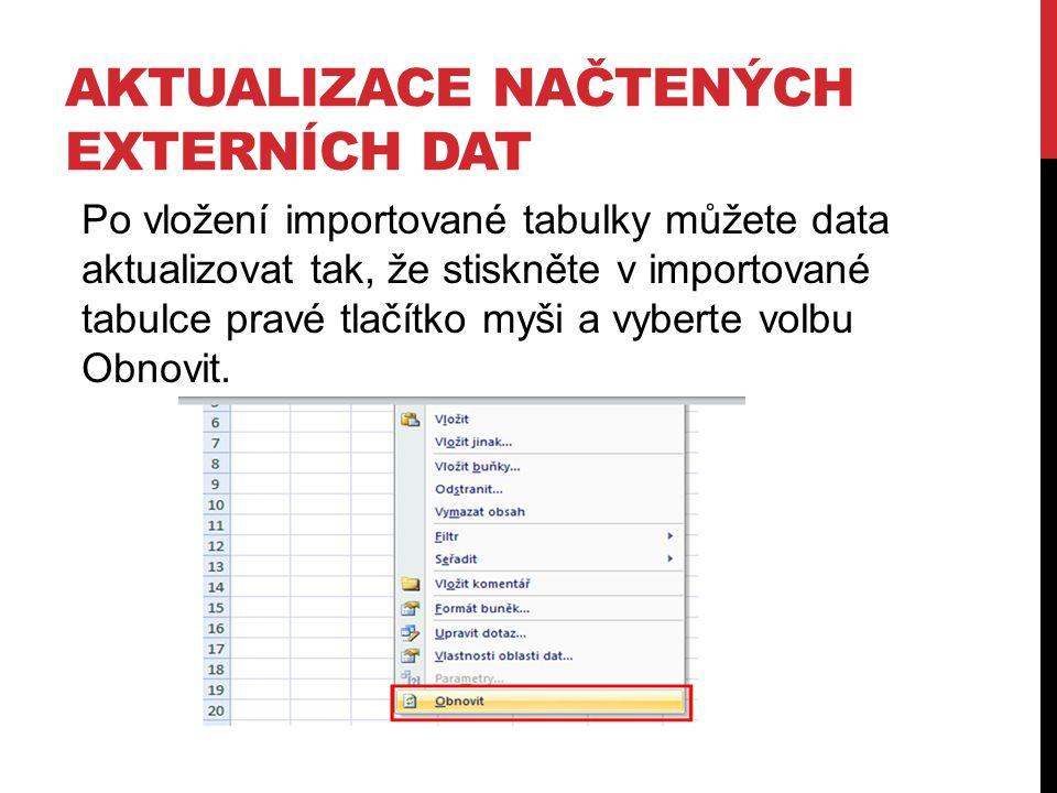 AKTUALIZACE NAČTENÝCH EXTERNÍCH DAT Po vložení importované tabulky můžete data aktualizovat tak, že stiskněte v importované tabulce pravé tlačítko myš