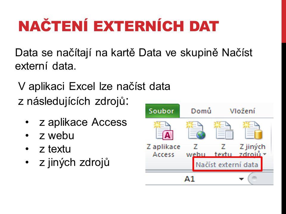 NAČTENÍ EXTERNÍCH DAT Data se načítají na kartě Data ve skupině Načíst externí data. V aplikaci Excel lze načíst data z následujících zdrojů : z aplik