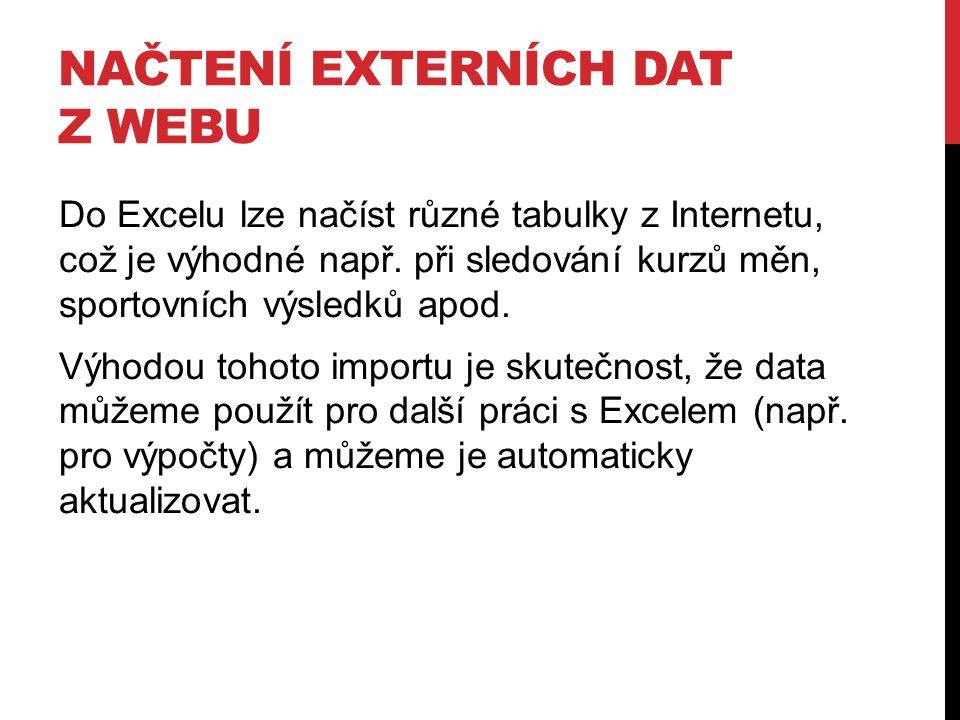 NAČTENÍ EXTERNÍCH DAT Z WEBU Do Excelu lze načíst různé tabulky z Internetu, což je výhodné např. při sledování kurzů měn, sportovních výsledků apod.