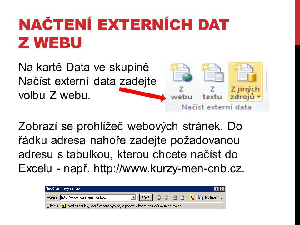 NAČTENÍ EXTERNÍCH DAT Z WEBU Na kartě Data ve skupině Načíst externí data zadejte volbu Z webu. Zobrazí se prohlížeč webových stránek. Do řádku adresa