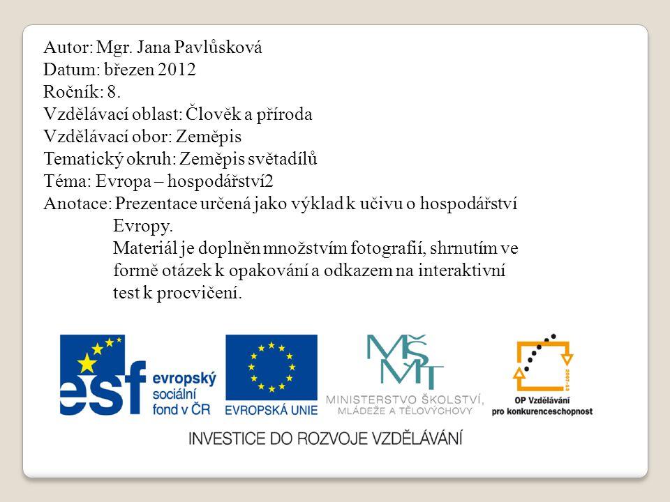 Evropa - hospodářství služby a doprava