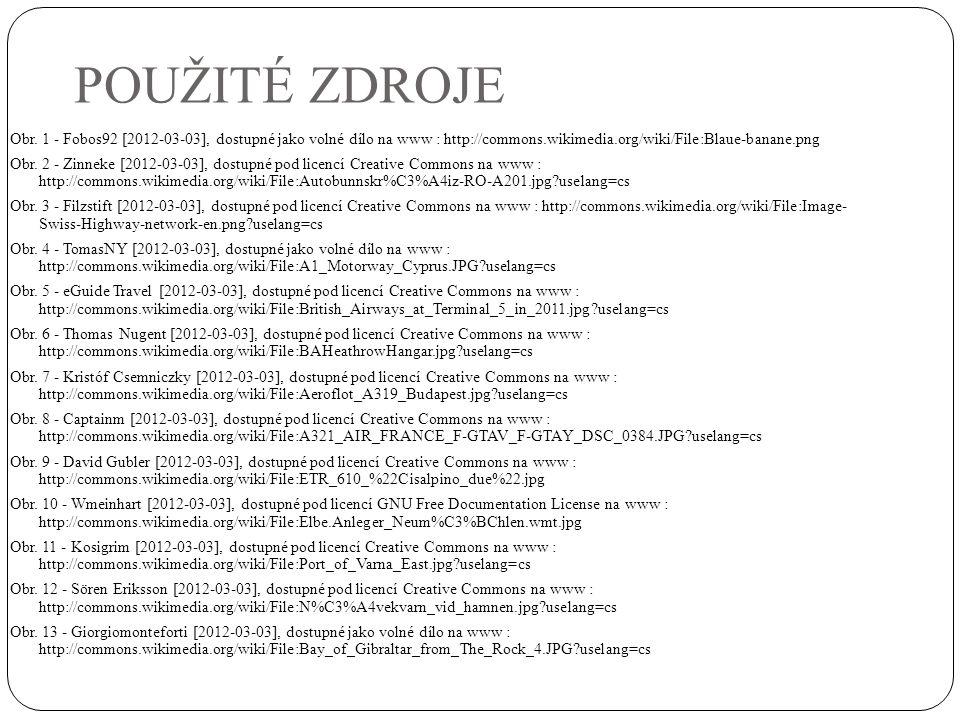 POUŽITÉ ZDROJE Obr. 1 - Fobos92 [2012-03-03], dostupné jako volné dílo na www : http://commons.wikimedia.org/wiki/File:Blaue-banane.png Obr. 2 - Zinne