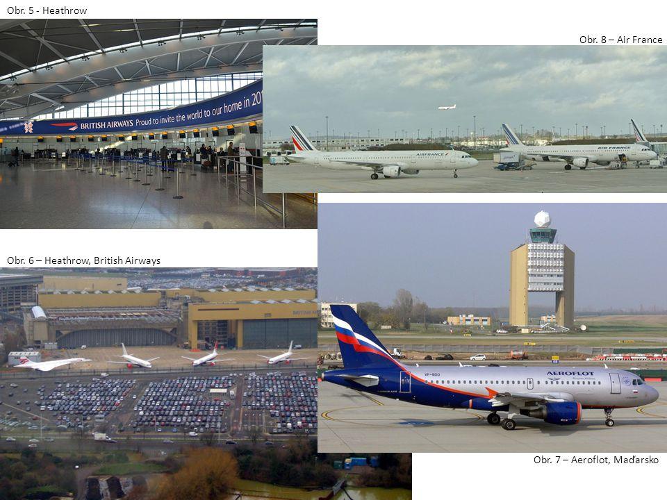 Obr. 5 - Heathrow Obr. 7 – Aeroflot, Maďarsko Obr. 8 – Air France Obr. 6 – Heathrow, British Airways