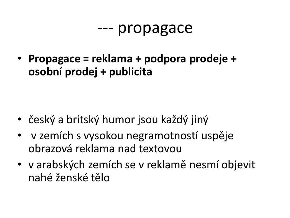 --- propagace Propagace = reklama + podpora prodeje + osobní prodej + publicita český a britský humor jsou každý jiný v zemích s vysokou negramotností