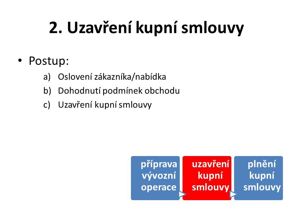 2. Uzavření kupní smlouvy Postup: a)Oslovení zákazníka/nabídka b)Dohodnutí podmínek obchodu c)Uzavření kupní smlouvy příprava vývozní operace uzavřen