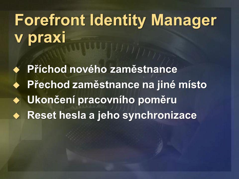 Forefront Identity Manager v praxi  Příchod nového zaměstnance  Přechod zaměstnance na jiné místo  Ukončení pracovního poměru  Reset hesla a jeho synchronizace