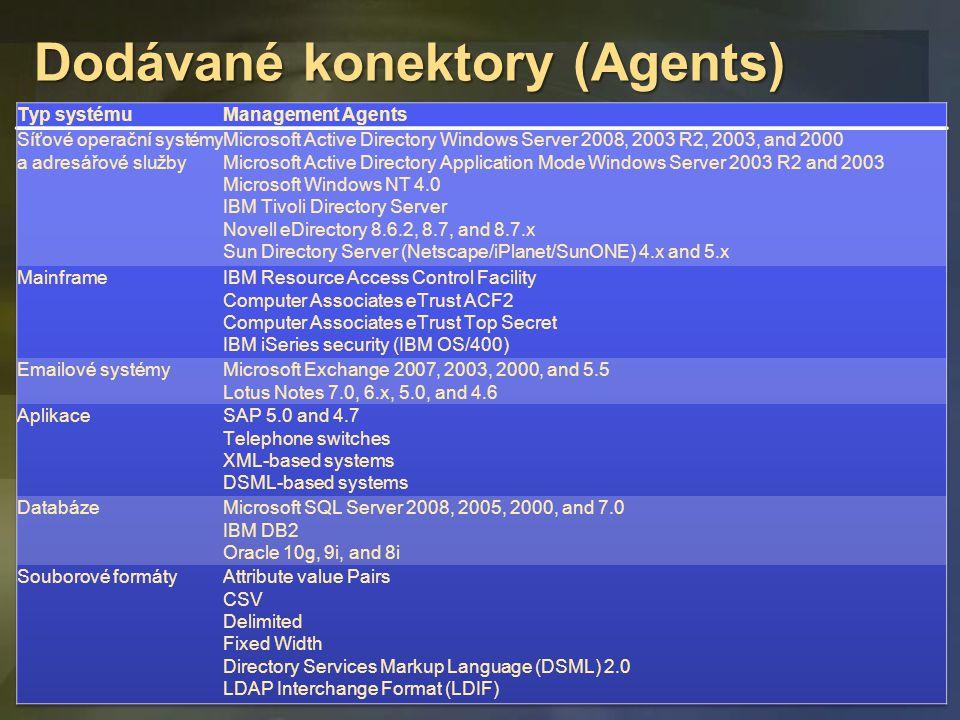 Dodávané konektory (Agents)