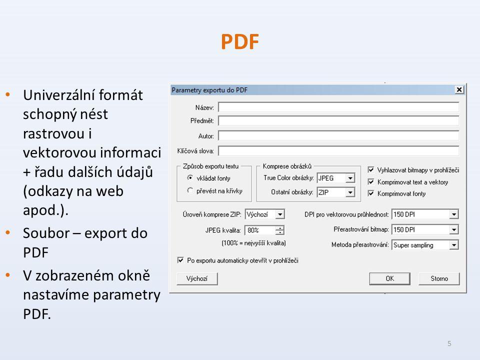 PDF Univerzální formát schopný nést rastrovou i vektorovou informaci + řadu dalších údajů (odkazy na web apod.).