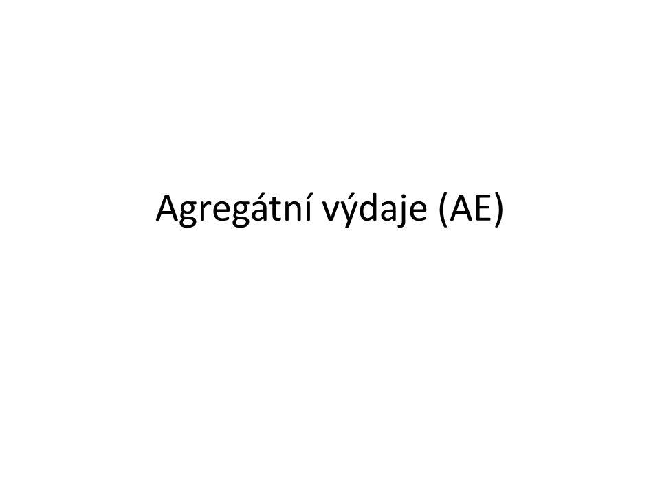 Podstata AE Agregátní výdaje se skládají ze 4 částí, respektive složek, či sektorů národního hospodářství : – spotřebních výdajů domácností, – investičních výdajů firem, – vládních výdajů na statky, – čistého exportu.