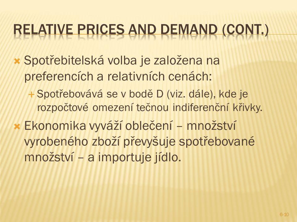  Spotřebitelská volba je založena na preferencích a relativních cenách:  Spotřebovává se v bodě D (viz. dále), kde je rozpočtové omezení tečnou indi