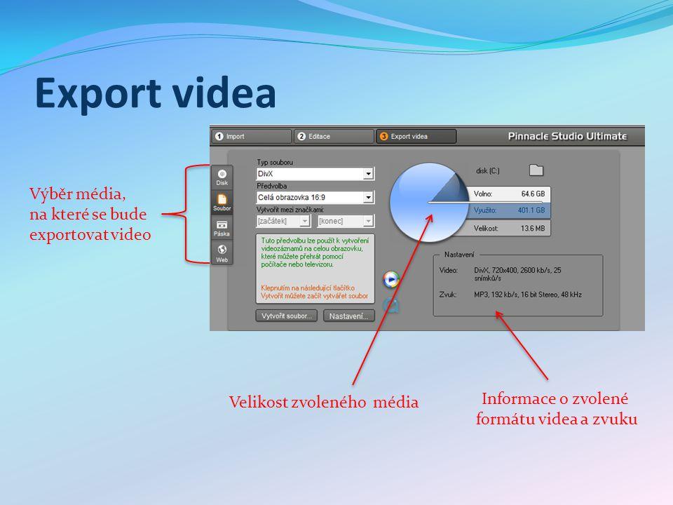 Volba kodeku Výběr zvukového formátu Volby video formátu