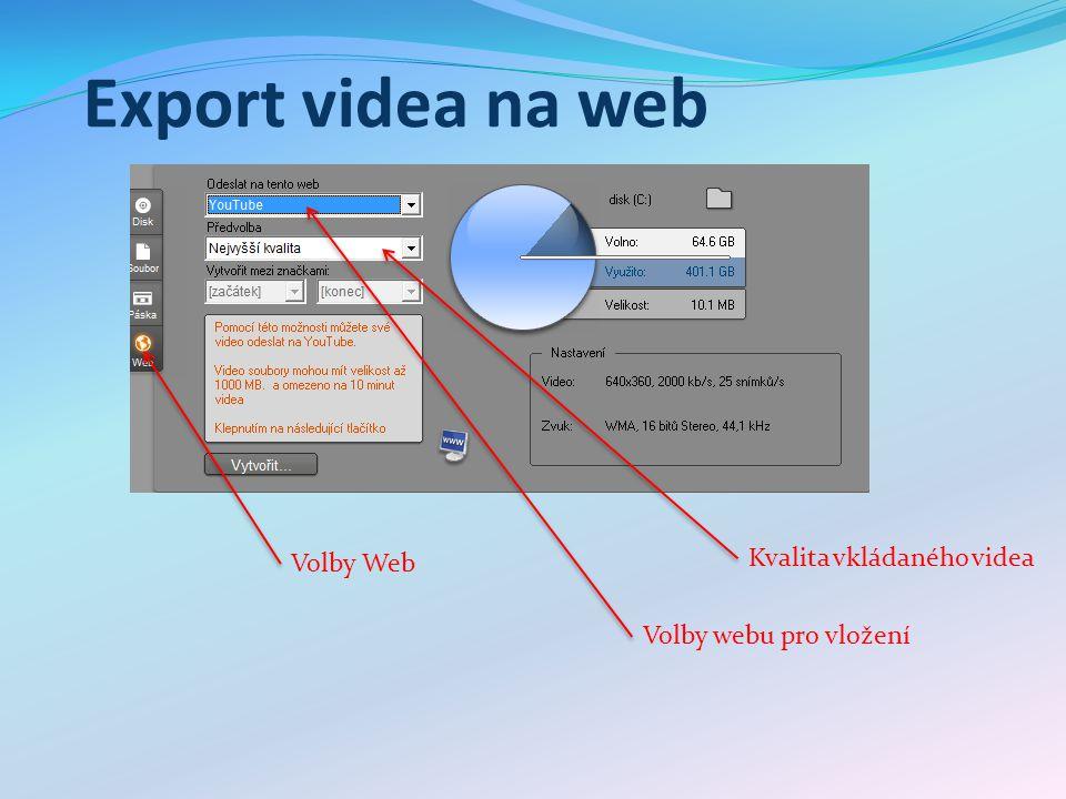 Export videa na web Volby Web Volby webu pro vložení Kvalita vkládaného videa