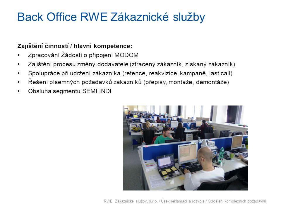 Back Office RWE Zákaznické služby Zajištění činností / hlavní kompetence: Zpracování Žádostí o připojení MODOM Zajištění procesu změny dodavatele (ztr