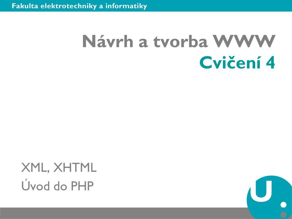 """Extenible Markup Language (XML) Použití XML –""""Inteligentní webové stránky formátování obsahu dle výstupního zařízení (PC, mobilní telefony, webTV, organizéry nebo třeba herní konzole ) –Elektronické publikování generovaní např."""