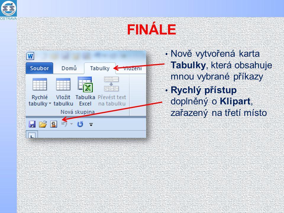 FINÁLE Nově vytvořená karta Tabulky, která obsahuje mnou vybrané příkazy Rychlý přístup doplněný o Klipart, zařazený na třetí místo