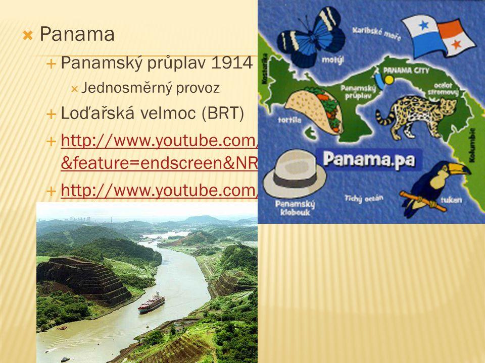  Panama  Panamský průplav 1914  Jednosměrný provoz  Loďařská velmoc (BRT)  http://www.youtube.com/watch?v=AbYXUpujF5k &feature=endscreen&NR=1 htt