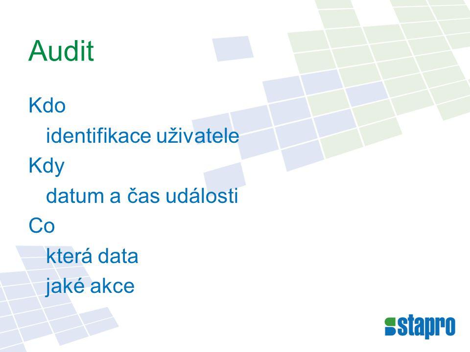 Audit Kdo identifikace uživatele Kdy datum a čas události Co která data jaké akce