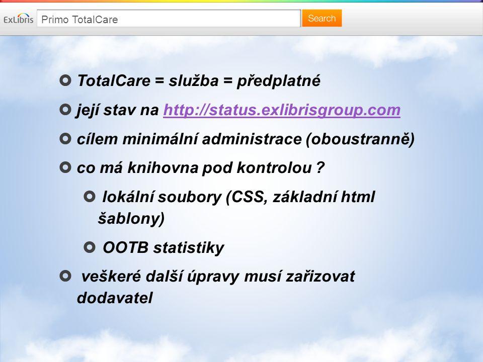 Primo v České Republice  UPa X/2012 (http://primo.upce.cz) SaaS od MULTIDATAhttp://primo.upce.cz  ÚZEI IX/2013 (http://primo.uzei.cz) lokální instalace v ÚZEIhttp://primo.uzei.cz  VUT II/2014 (http://primo.vutbr.cz) TotalCare od Ex Librishttp://primo.vutbr.cz (doba implementace ca 2 měsíce)