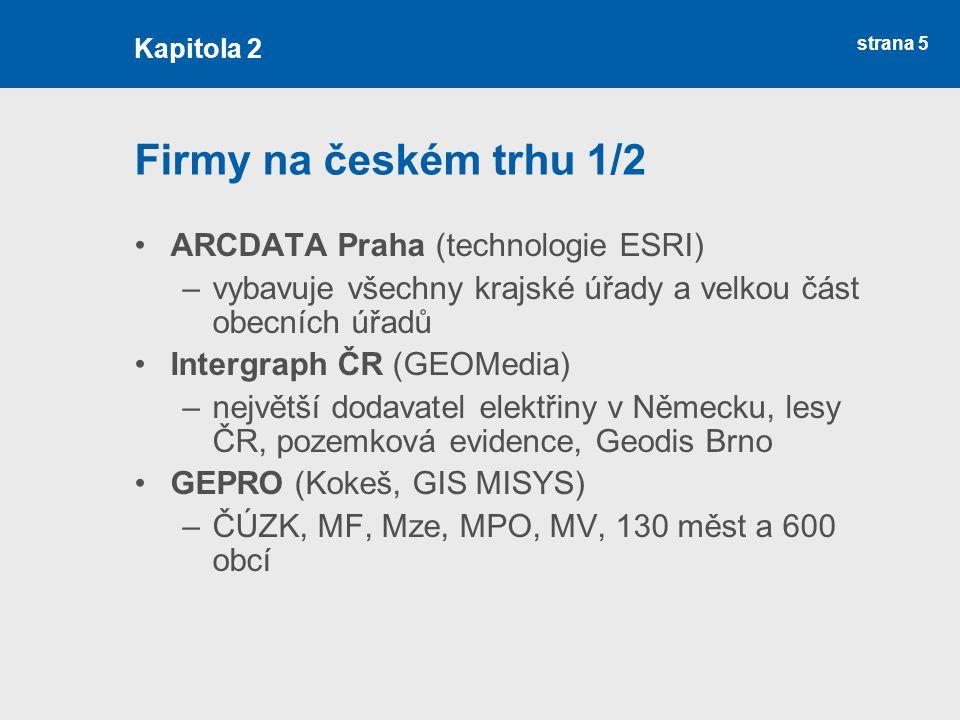 strana 5 Firmy na českém trhu 1/2 ARCDATA Praha (technologie ESRI) –vybavuje všechny krajské úřady a velkou část obecních úřadů Intergraph ČR (GEOMedi