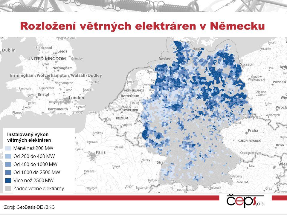 Zdroj: GeoBasis-DE /BKG Rozložení větrných elektráren v Německu Instalovaný výkon větrných elektráren Méně než 200 MW Od 200 do 400 MW Od 400 do 1000