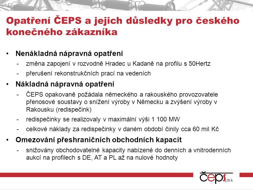 Nenákladná nápravná opatření -změna zapojení v rozvodně Hradec u Kadaně na profilu s 50Hertz -přerušení rekonstrukčních prací na vedeních Nákladná náp