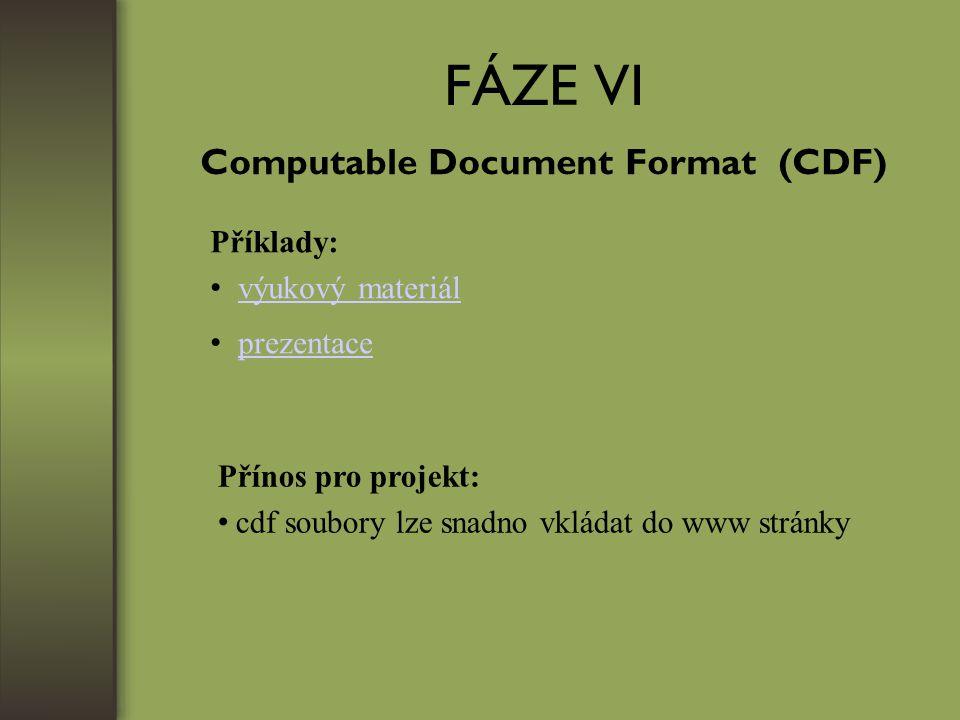 FÁZE VI Computable Document Format (CDF) Příklady: výukový materiál prezentace Přínos pro projekt: cdf soubory lze snadno vkládat do www stránky