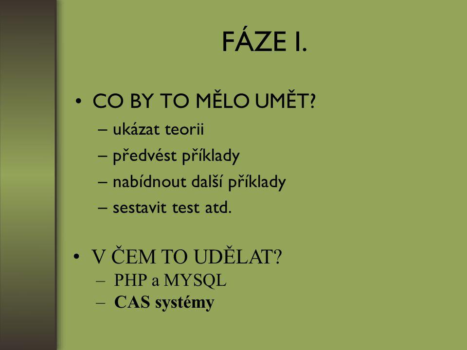 FÁZE I. CO BY TO MĚLO UMĚT.