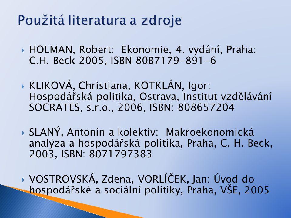  HOLMAN, Robert: Ekonomie, 4. vydání, Praha: C.H.