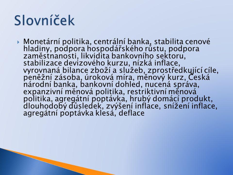  Monetární politika, centrální banka, stabilita cenové hladiny, podpora hospodářského růstu, podpora zaměstnanosti, likvidita bankovního sektoru, stabilizace devizového kurzu, nízká inflace, vyrovnaná bilance zboží a služeb, zprostředkující cíle, peněžní zásoba, úroková míra, měnový kurz, Česká národní banka, bankovní dohled, nucená správa, expanzivní měnová politika, restriktivní měnová politika, agregátní poptávka, hrubý domácí produkt, dlouhodobý důsledek, zvýšení inflace, snížení inflace, agregátní poptávka klesá, deflace