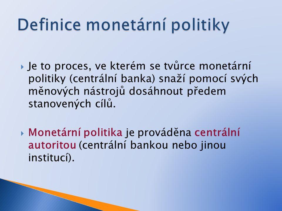 Je to proces, ve kterém se tvůrce monetární politiky (centrální banka) snaží pomocí svých měnových nástrojů dosáhnout předem stanovených cílů.