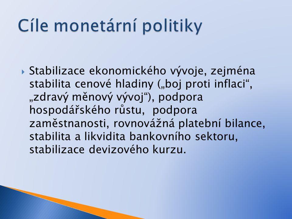  Mezi konečné cíle patří nízká inflace, nízká nezaměstnanost a vyrovnaná bilance zboží a služeb.